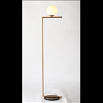 Floor Lamp - Gold Finish with Milky Glass