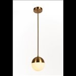 Pendant Light - Gold Finish with Milky Glass